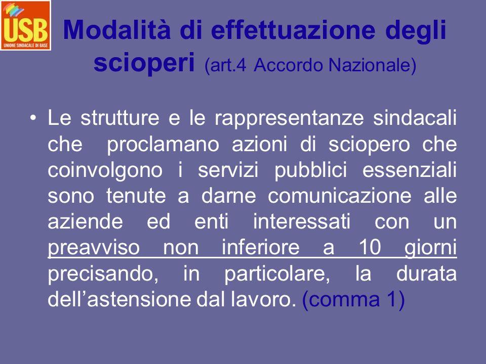 Modalità di effettuazione degli scioperi (art.4 Accordo Nazionale) Le strutture e le rappresentanze sindacali che proclamano azioni di sciopero che co