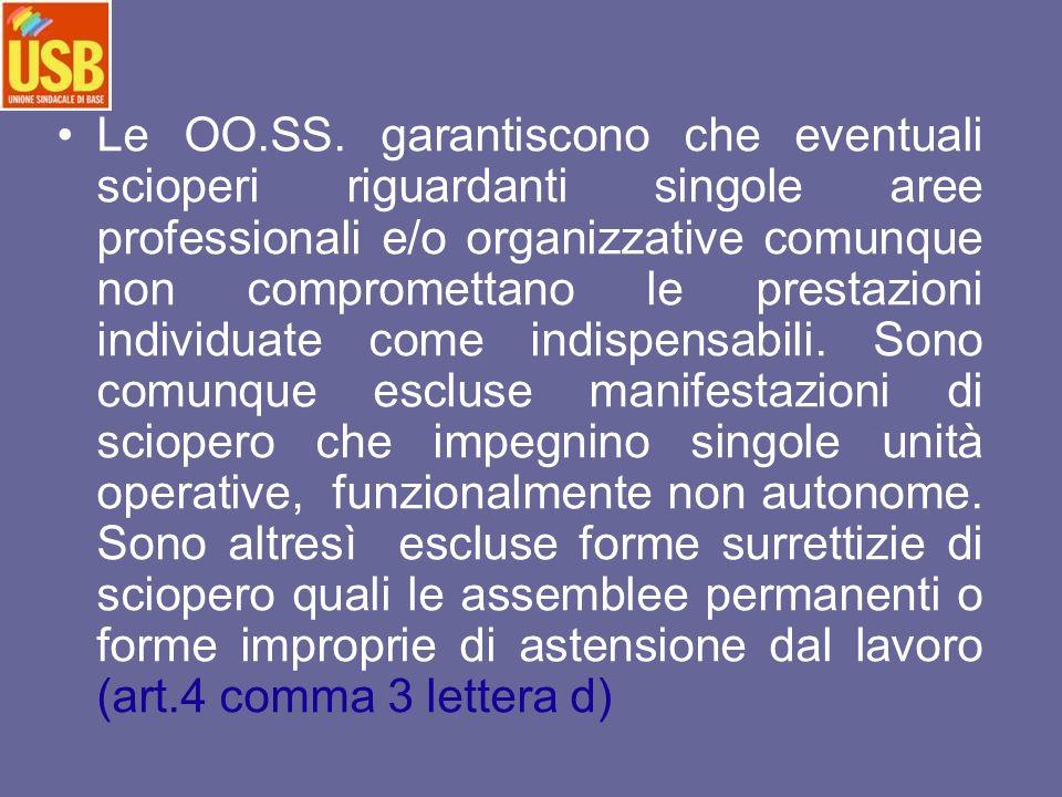Le OO.SS. garantiscono che eventuali scioperi riguardanti singole aree professionali e/o organizzative comunque non compromettano le prestazioni indiv