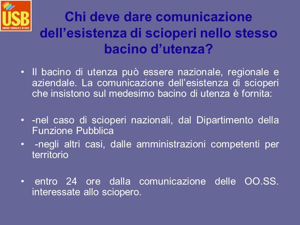 Chi deve dare comunicazione dellesistenza di scioperi nello stesso bacino dutenza? Il bacino di utenza può essere nazionale, regionale e aziendale. La