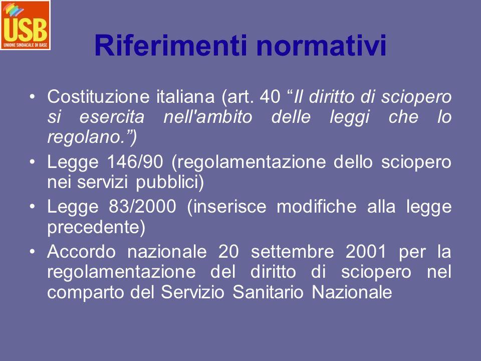 Riferimenti normativi Costituzione italiana (art. 40 Il diritto di sciopero si esercita nell'ambito delle leggi che lo regolano.) Legge 146/90 (regola