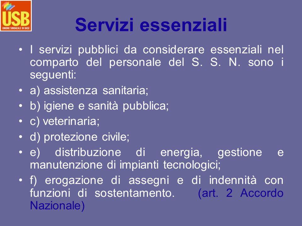 I servizi pubblici da considerare essenziali nel comparto del personale del S. S. N. sono i seguenti: a) assistenza sanitaria; b) igiene e sanità pubb