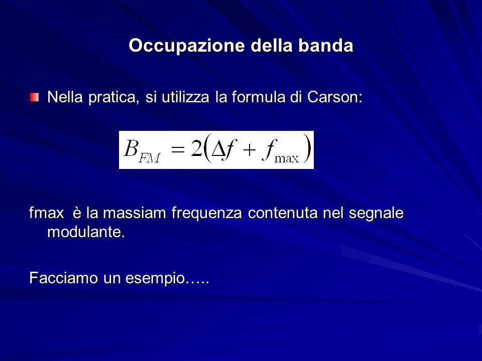 Occupazione della banda Nella pratica, si utilizza la formula di Carson: fmax è la massiam frequenza contenuta nel segnale modulante. Facciamo un esem