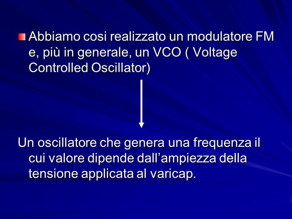 Abbiamo cosi realizzato un modulatore FM e, più in generale, un VCO ( Voltage Controlled Oscillator) Un oscillatore che genera una frequenza il cui va