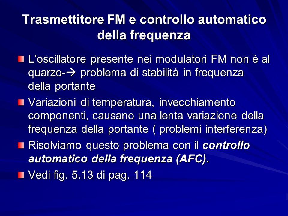 Trasmettitore FM e controllo automatico della frequenza Loscillatore presente nei modulatori FM non è al quarzo- problema di stabilità in frequenza de