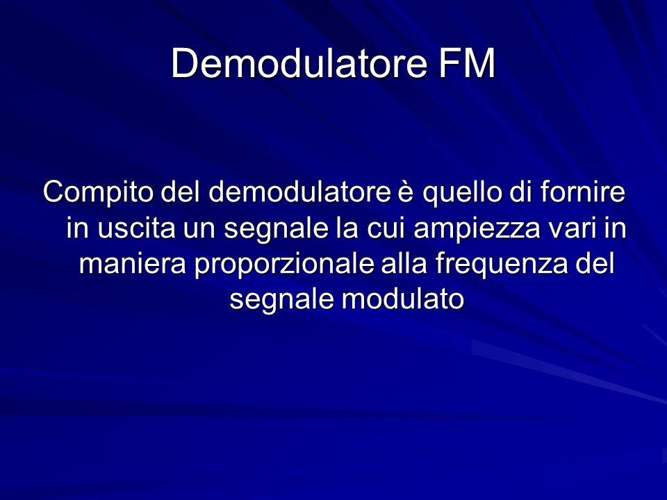 Demodulatore FM Compito del demodulatore è quello di fornire in uscita un segnale la cui ampiezza vari in maniera proporzionale alla frequenza del seg