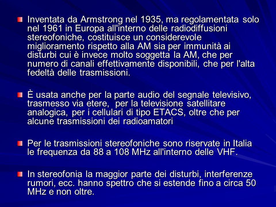 La modulazione FM E meno sensibile al rumore rispetto alla modulazione AM.