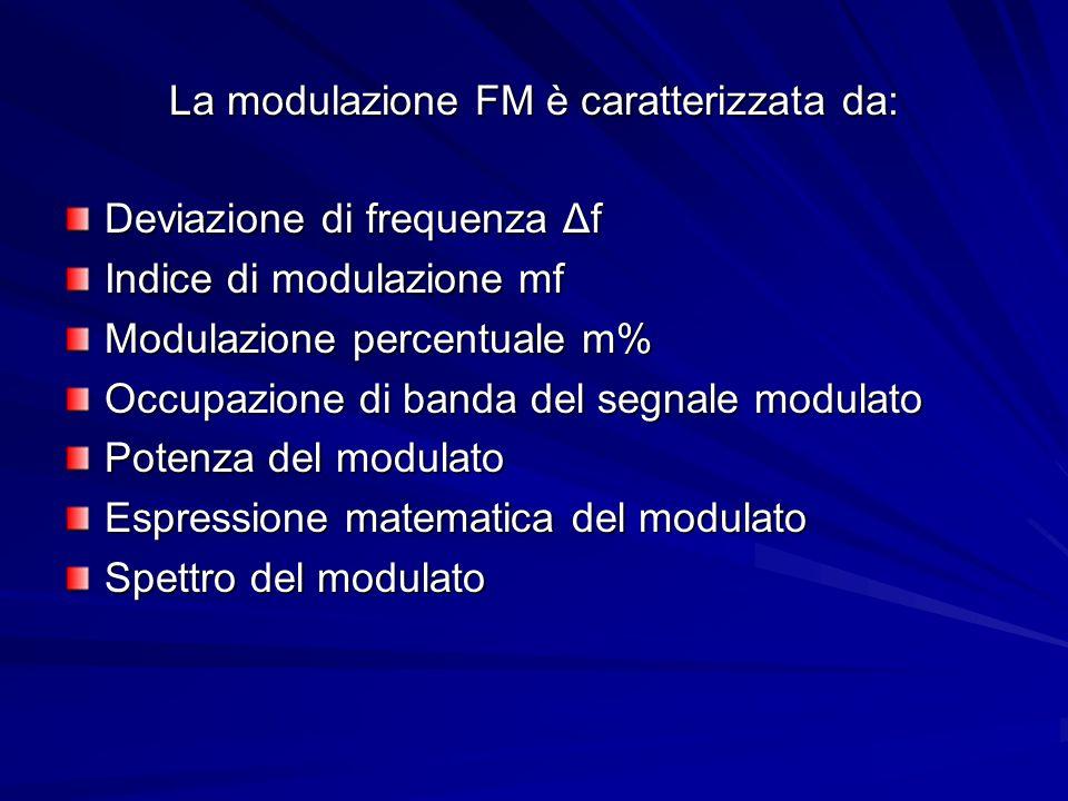 La modulazione FM è caratterizzata da: Deviazione di frequenza Δf Indice di modulazione mf Modulazione percentuale m% Occupazione di banda del segnale