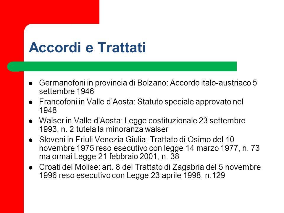 Accordi e Trattati Germanofoni in provincia di Bolzano: Accordo italo-austriaco 5 settembre 1946 Francofoni in Valle dAosta: Statuto speciale approvat