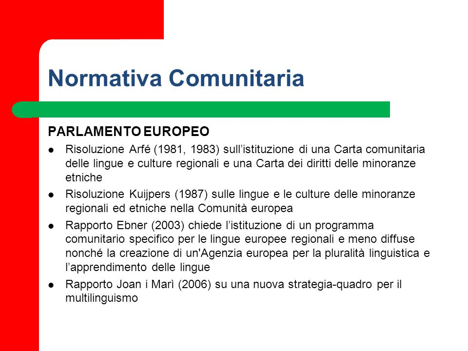 Normativa Comunitaria PARLAMENTO EUROPEO Risoluzione Arfé (1981, 1983) sullistituzione di una Carta comunitaria delle lingue e culture regionali e una