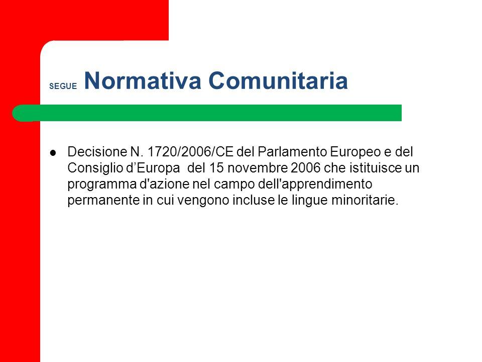 SEGUE Normativa Comunitaria Decisione N. 1720/2006/CE del Parlamento Europeo e del Consiglio dEuropa del 15 novembre 2006 che istituisce un programma