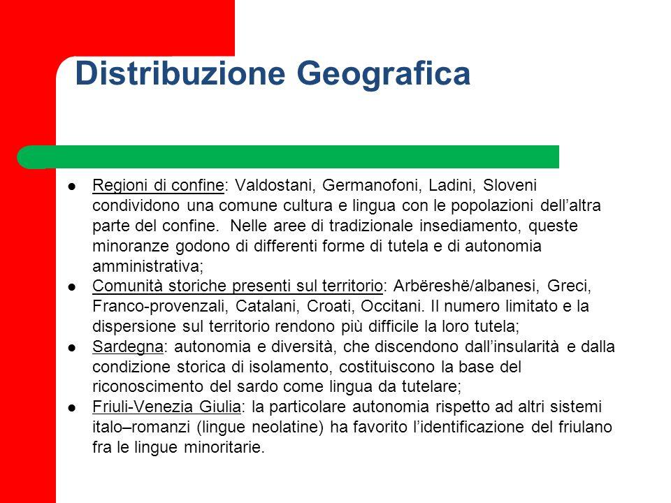Distribuzione Geografica Regioni di confine: Valdostani, Germanofoni, Ladini, Sloveni condividono una comune cultura e lingua con le popolazioni della