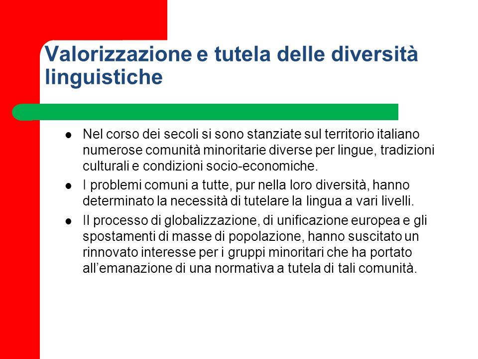 Valorizzazione e tutela delle diversità linguistiche Nel corso dei secoli si sono stanziate sul territorio italiano numerose comunità minoritarie dive