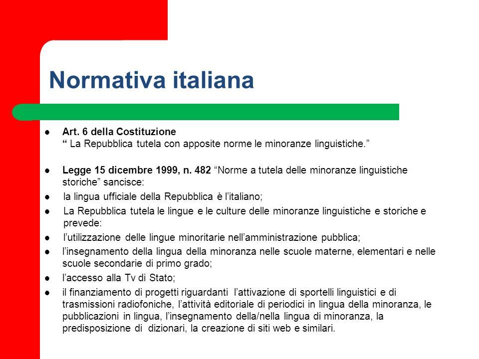 Normativa italiana Art. 6 della Costituzione La Repubblica tutela con apposite norme le minoranze linguistiche. Legge 15 dicembre 1999, n. 482 Norme a
