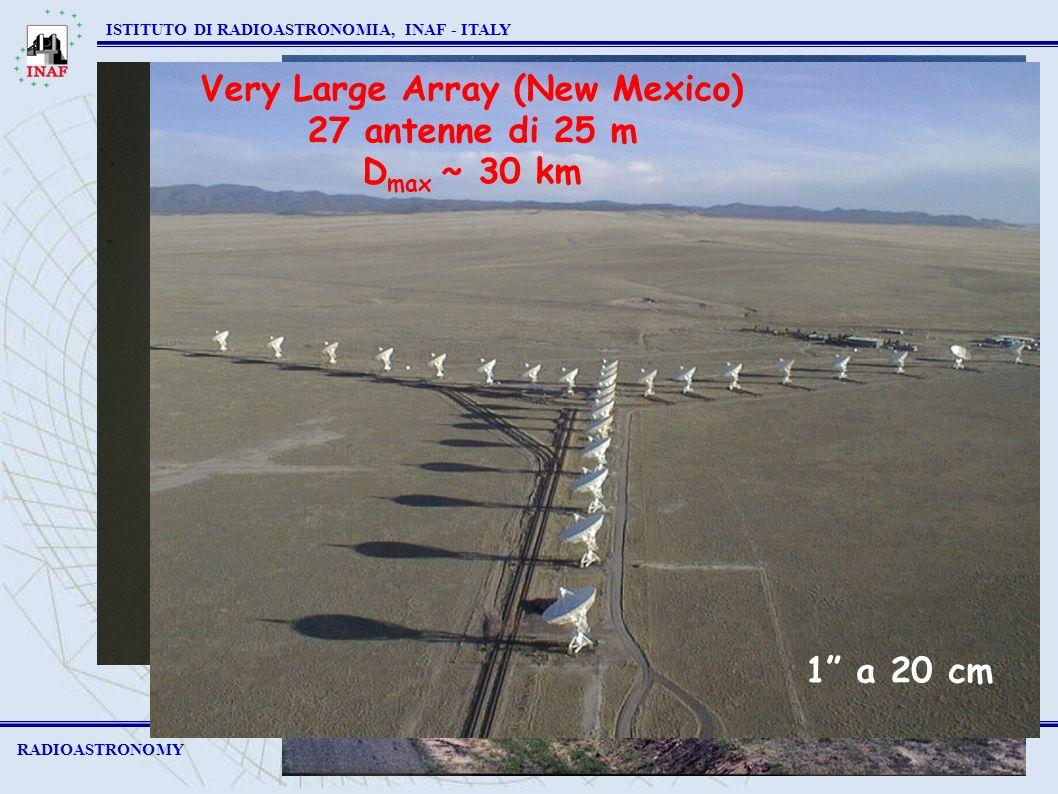 Westerbork (Olanda) 14 antenne di 25 m D max ~ 3 km RADIOASTRONOMY ISTITUTO DI RADIOASTRONOMIA, INAF - ITALY ATCA (Australia) 6 antenne di 22 m D max