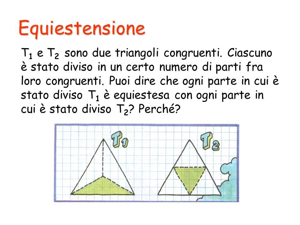 Equiestensione T 1 e T 2 sono due triangoli congruenti. Ciascuno è stato diviso in un certo numero di parti fra loro congruenti. Puoi dire che ogni pa