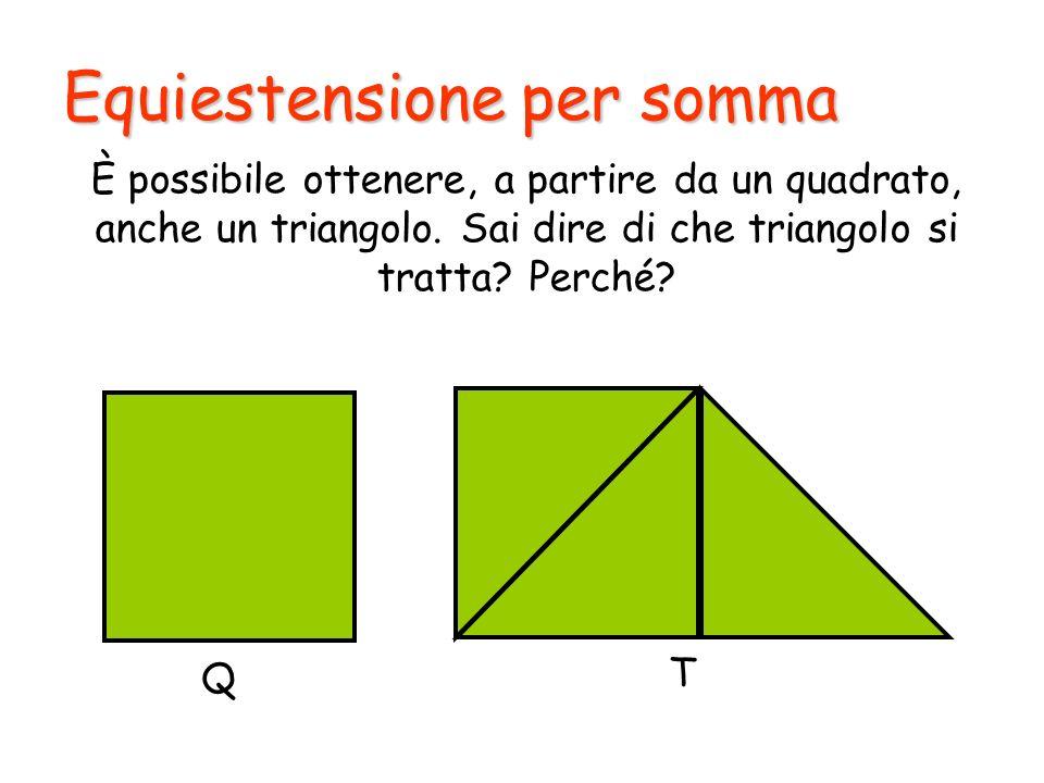 Equiestensione per somma È possibile ottenere, a partire da un quadrato, anche un triangolo. Sai dire di che triangolo si tratta? Perché? Q T