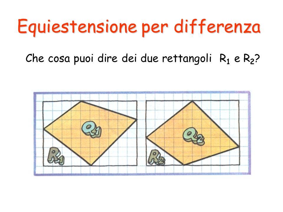 Equiestensione per differenza Che cosa puoi dire dei due rettangoli R 1 e R 2 ?