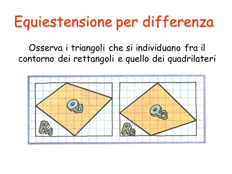 Equiestensione per differenza Osserva i triangoli che si individuano fra il contorno dei rettangoli e quello dei quadrilateri