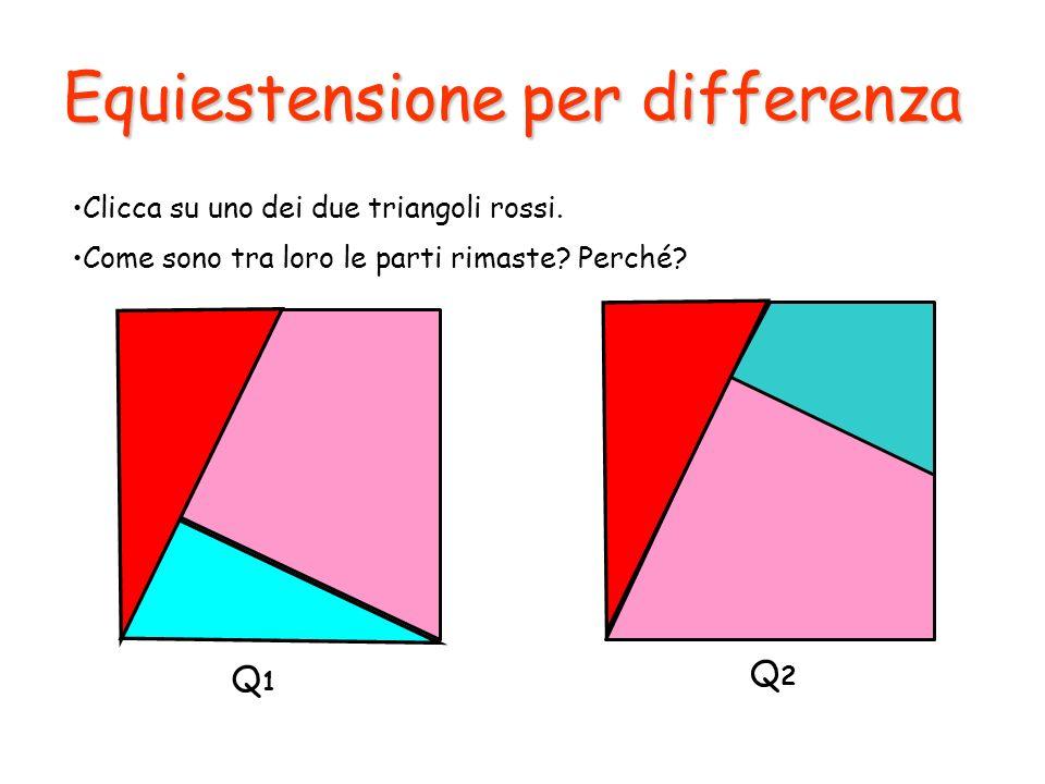 Equiestensione per differenza Clicca su uno dei due triangoli rossi. Q1Q1 Q2Q2 Come sono tra loro le parti rimaste? Perché?
