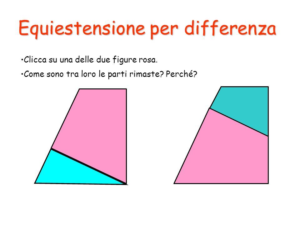 Equiestensione per differenza Clicca su una delle due figure rosa. Come sono tra loro le parti rimaste? Perché?
