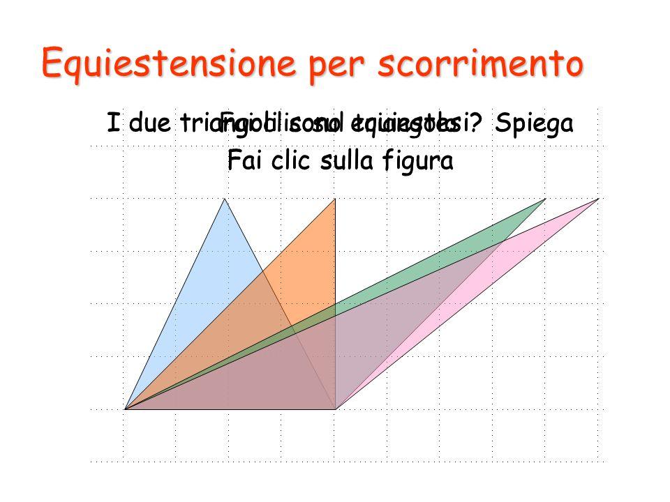Equiestensione per scorrimento Fai clic sul triangolo I due triangoli sono equiestesi? Spiega Fai clic sulla figura I due triangoli sono equiestesi? S