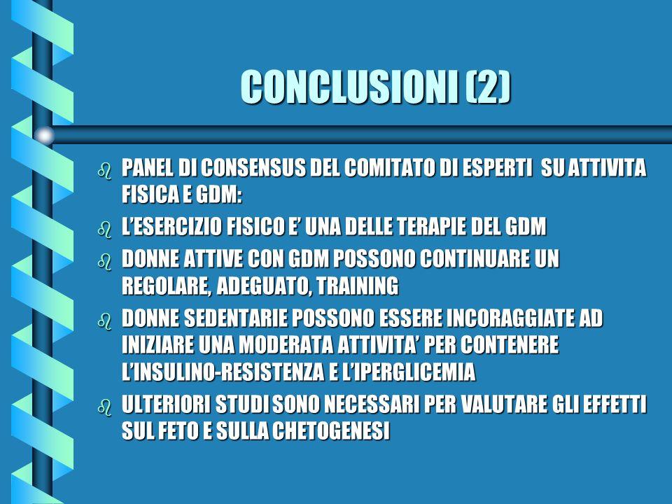 CONCLUSIONI (2) b PANEL DI CONSENSUS DEL COMITATO DI ESPERTI SU ATTIVITA FISICA E GDM: b LESERCIZIO FISICO E UNA DELLE TERAPIE DEL GDM b DONNE ATTIVE