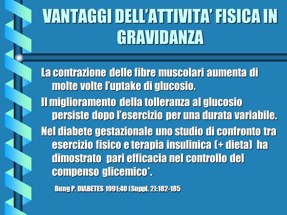 VANTAGGI DELLATTIVITA FISICA IN GRAVIDANZA La contrazione delle fibre muscolari aumenta di molte volte luptake di glucosio. Il miglioramento della tol