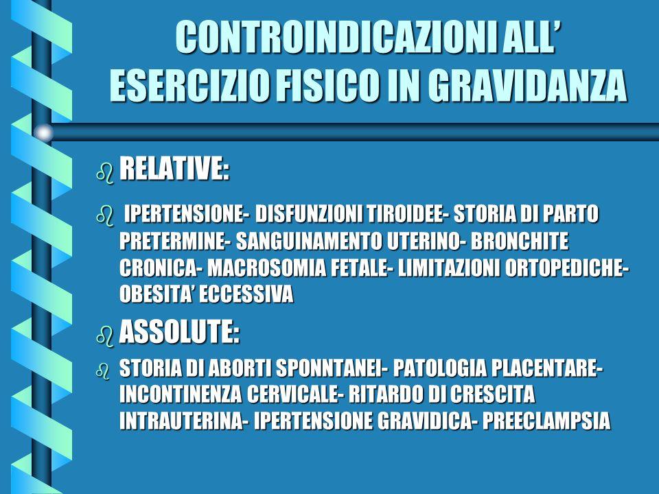 CONTROINDICAZIONI ALL ESERCIZIO FISICO IN GRAVIDANZA b RELATIVE: b IPERTENSIONE- DISFUNZIONI TIROIDEE- STORIA DI PARTO PRETERMINE- SANGUINAMENTO UTERI