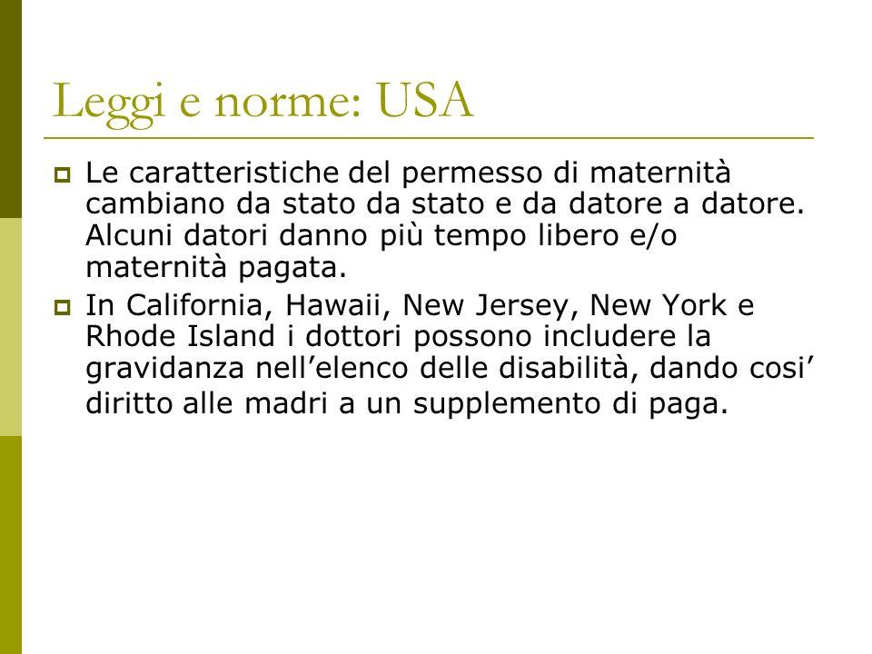 Leggi e norme: USA Le caratteristiche del permesso di maternità cambiano da stato da stato e da datore a datore.