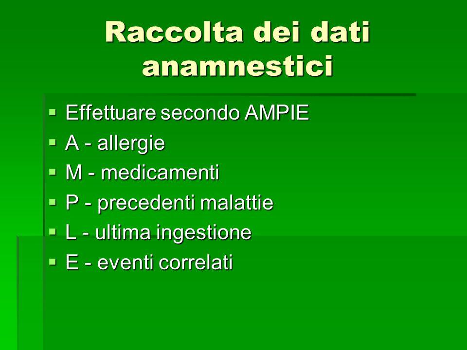 Raccolta dei dati anamnestici Effettuare secondo AMPIE Effettuare secondo AMPIE A - allergie A - allergie M - medicamenti M - medicamenti P - preceden