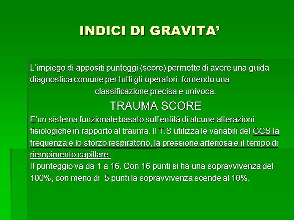 INDICI DI GRAVITA Limpiego di appositi punteggi (score) permette di avere una guida diagnostica comune per tutti gli operatori, fornendo una classific
