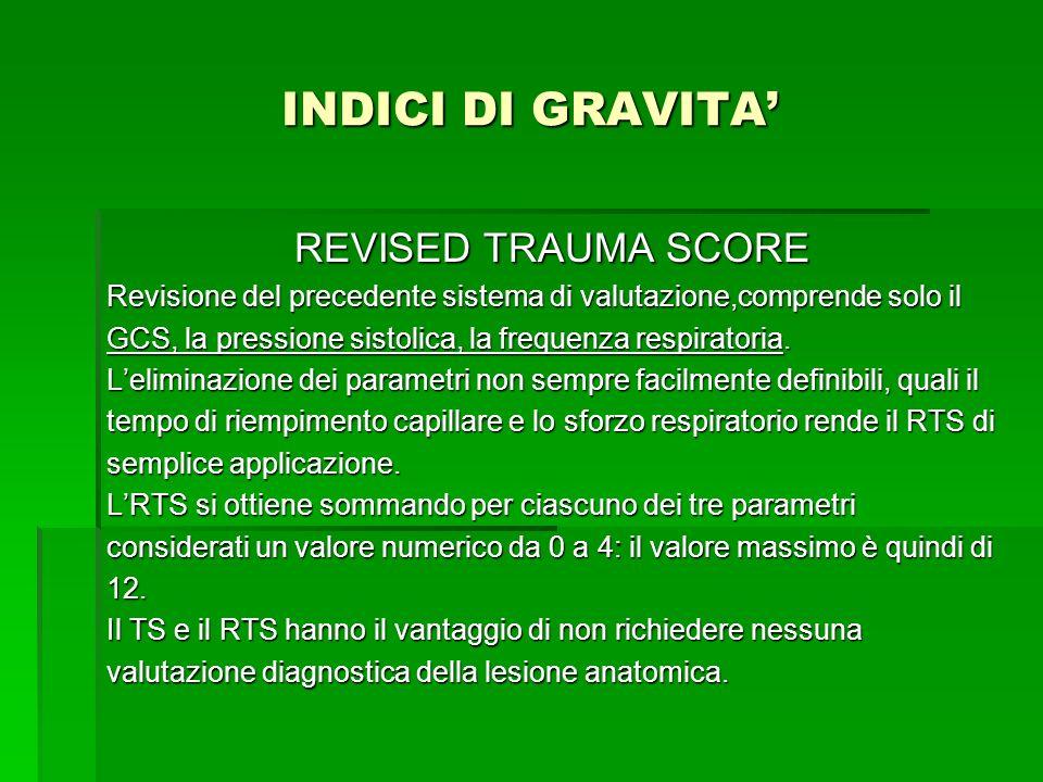INDICI DI GRAVITA REVISED TRAUMA SCORE Revisione del precedente sistema di valutazione,comprende solo il GCS, la pressione sistolica, la frequenza res