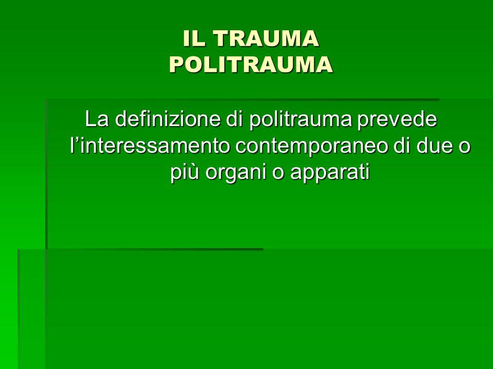 IL TRAUMA POLITRAUMA La definizione di politrauma prevede linteressamento contemporaneo di due o più organi o apparati