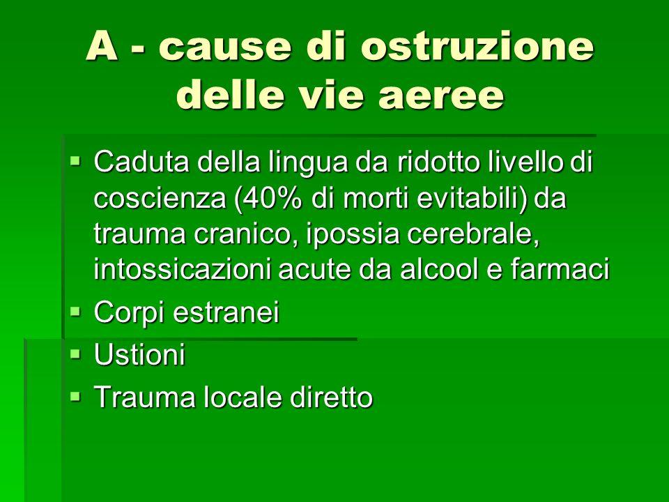 A - cause di ostruzione delle vie aeree Caduta della lingua da ridotto livello di coscienza (40% di morti evitabili) da trauma cranico, ipossia cerebr