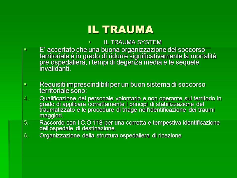 IL TRAUMA IL TRAUMA SYSTEM IL TRAUMA SYSTEM E accertato che una buona organizzazione del soccorso territoriale è in grado di ridurre significativament