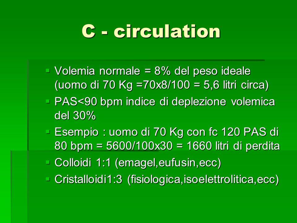 C - circulation Volemia normale = 8% del peso ideale (uomo di 70 Kg =70x8/100 = 5,6 litri circa) Volemia normale = 8% del peso ideale (uomo di 70 Kg =