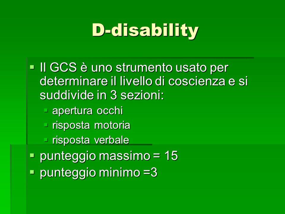 D-disability Il GCS è uno strumento usato per determinare il livello di coscienza e si suddivide in 3 sezioni: Il GCS è uno strumento usato per determ