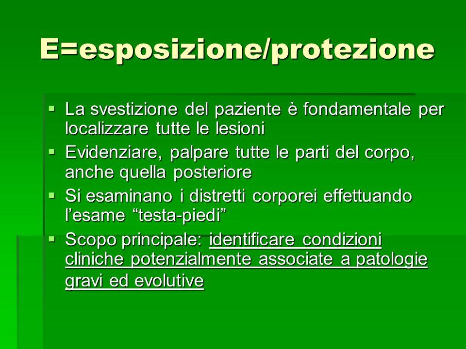 E=esposizione/protezione La svestizione del paziente è fondamentale per localizzare tutte le lesioni La svestizione del paziente è fondamentale per lo