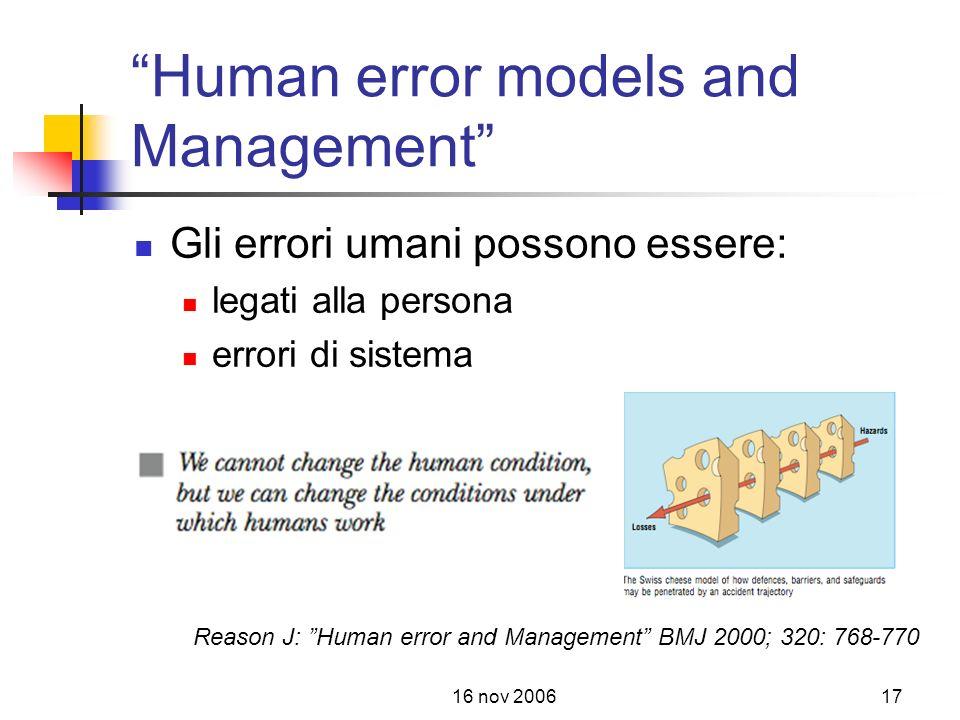 16 nov 200617 Human error models and Management Gli errori umani possono essere: legati alla persona errori di sistema Reason J: Human error and Management BMJ 2000; 320: 768-770