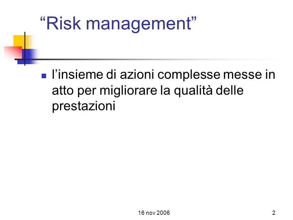 16 nov 20062 Risk management linsieme di azioni complesse messe in atto per migliorare la qualità delle prestazioni