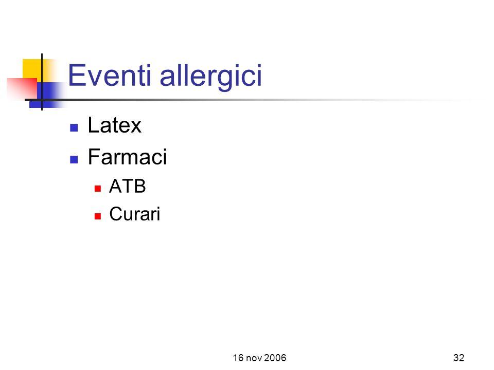 16 nov 200632 Eventi allergici Latex Farmaci ATB Curari
