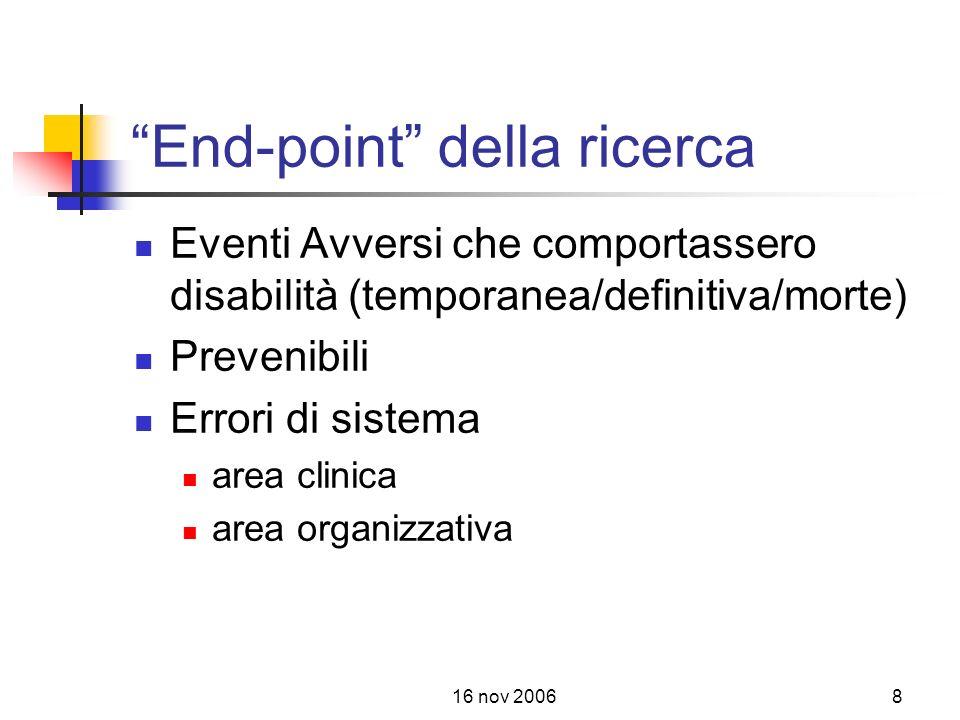 16 nov 20068 End-point della ricerca Eventi Avversi che comportassero disabilità (temporanea/definitiva/morte) Prevenibili Errori di sistema area clinica area organizzativa