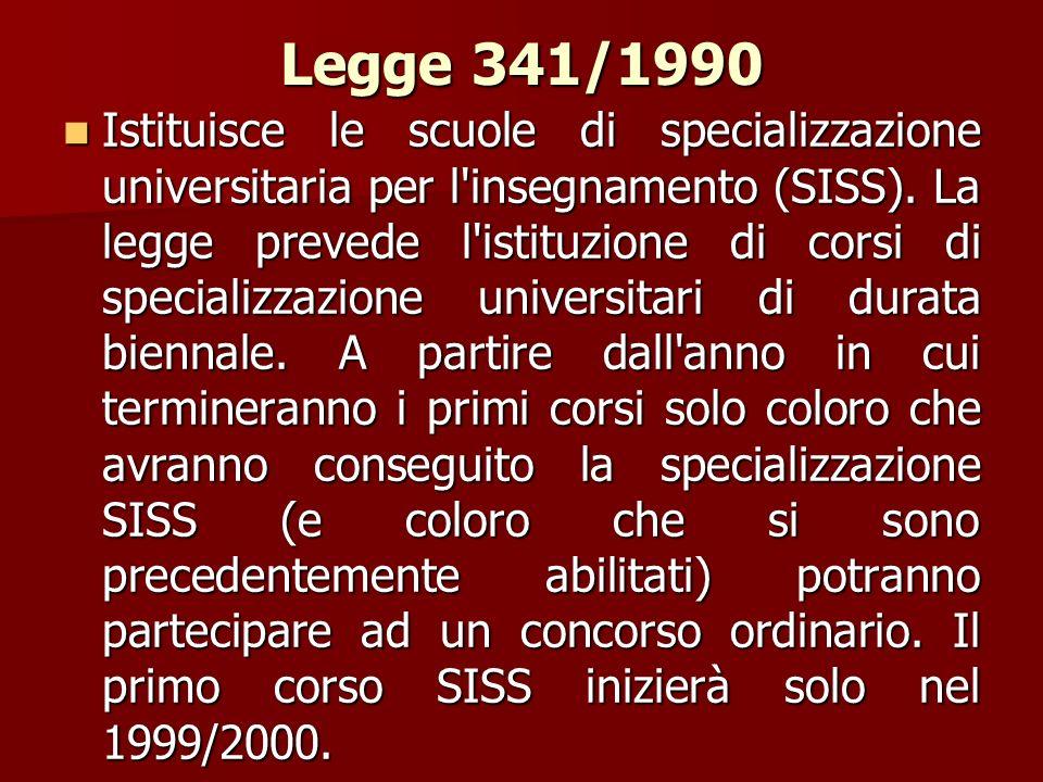 Legge 341/1990 Istituisce le scuole di specializzazione universitaria per l'insegnamento (SISS). La legge prevede l'istituzione di corsi di specializz