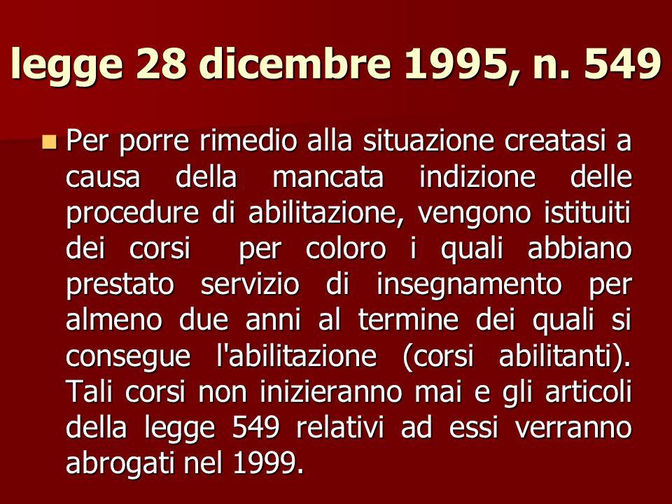 legge 28 dicembre 1995, n. 549 Per porre rimedio alla situazione creatasi a causa della mancata indizione delle procedure di abilitazione, vengono ist
