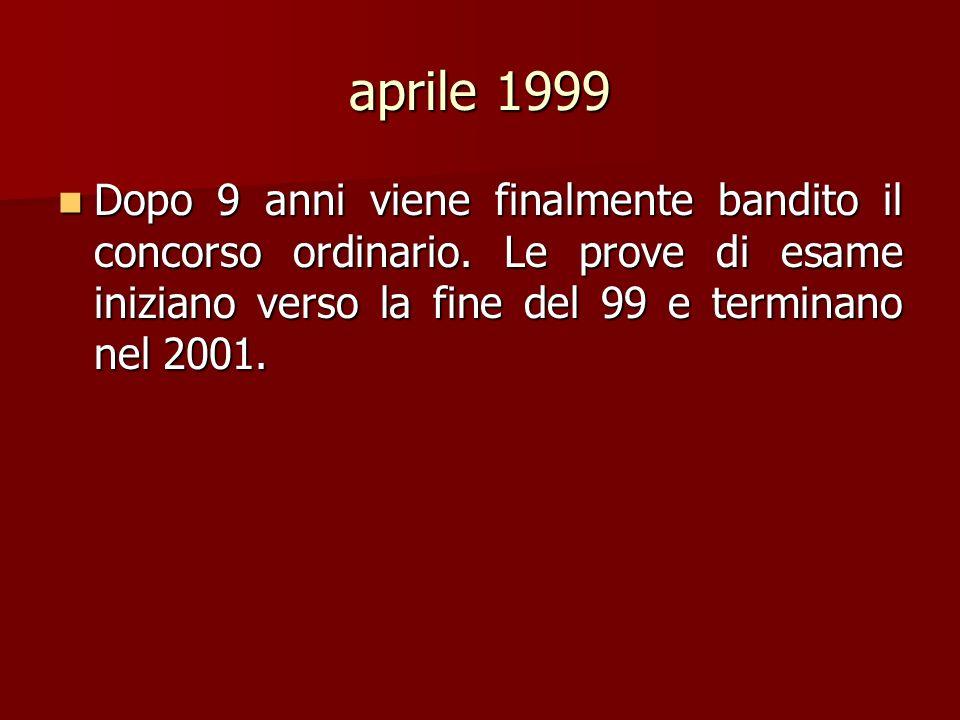aprile 1999 Dopo 9 anni viene finalmente bandito il concorso ordinario. Le prove di esame iniziano verso la fine del 99 e terminano nel 2001. Dopo 9 a