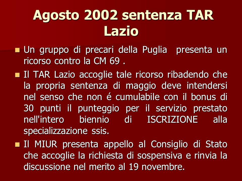 Agosto 2002 sentenza TAR Lazio Agosto 2002 sentenza TAR Lazio Un gruppo di precari della Puglia presenta un ricorso contro la CM 69.