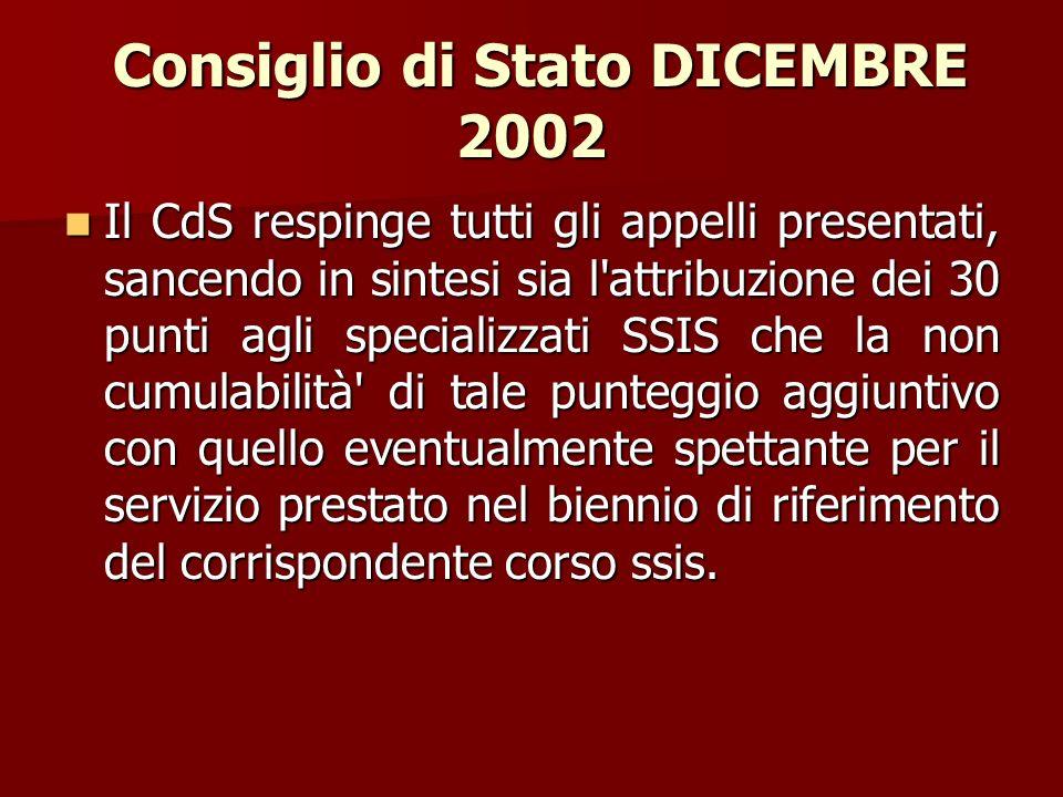 Consiglio di Stato DICEMBRE 2002 Consiglio di Stato DICEMBRE 2002 Il CdS respinge tutti gli appelli presentati, sancendo in sintesi sia l'attribuzione