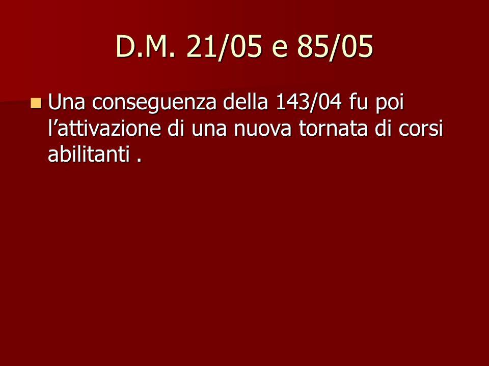 D.M. 21/05 e 85/05 Una conseguenza della 143/04 fu poi lattivazione di una nuova tornata di corsi abilitanti. Una conseguenza della 143/04 fu poi latt