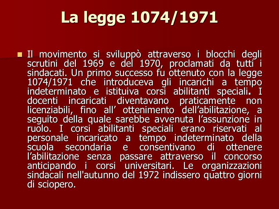 La legge 1074/1971 Il movimento si sviluppò attraverso i blocchi degli scrutini del 1969 e del 1970, proclamati da tutti i sindacati. Un primo success