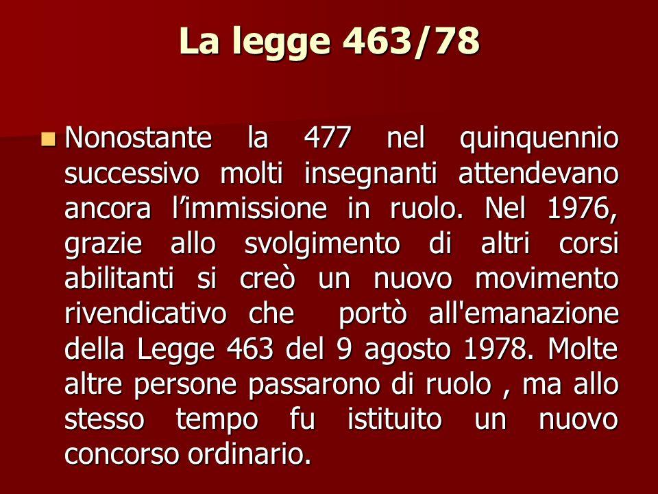 La legge 463/78 Nonostante la 477 nel quinquennio successivo molti insegnanti attendevano ancora limmissione in ruolo. Nel 1976, grazie allo svolgimen